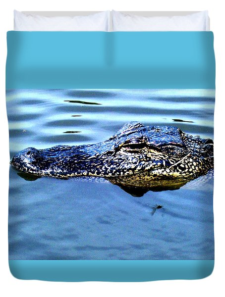 Alligator With Spider Duvet Cover by Robin Lewis