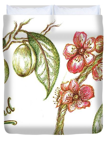 Almond with flowers Duvet Cover by Teresa White
