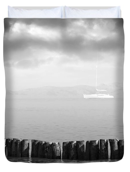 Along The Breakwater Duvet Cover by Wim Lanclus