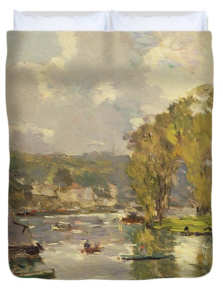 Along The Seine At Meudon Duvet Cover by Albert Charles Lebourg