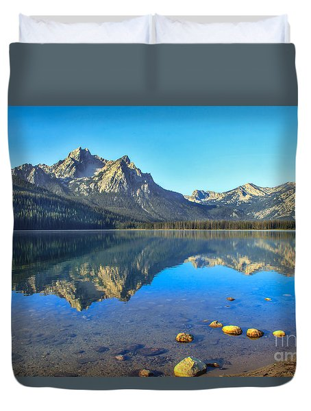 Alpine Lake Reflections Duvet Cover by Robert Bales