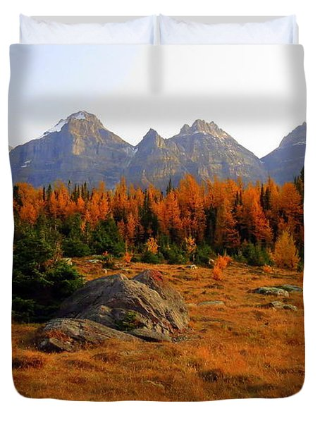 Alpine Larch Meadow Duvet Cover by Ramona Johnston