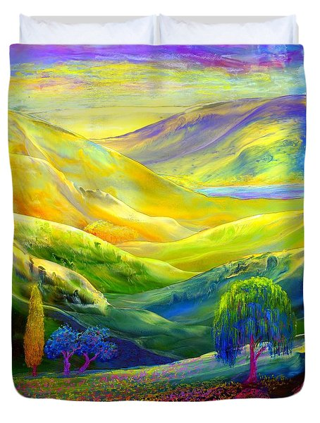 Wildflower Meadows, Amber Skies Duvet Cover by Jane Small