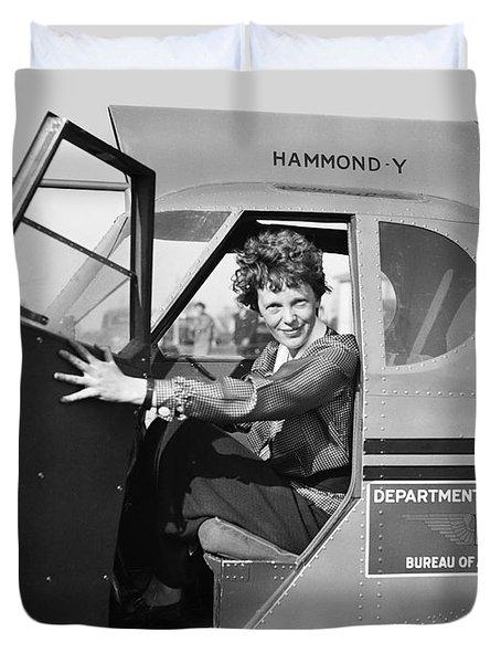 Amelia Earhart - 1936 Duvet Cover by Daniel Hagerman