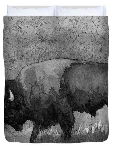 Monochrome American Buffalo 3  Duvet Cover by Hailey E Herrera