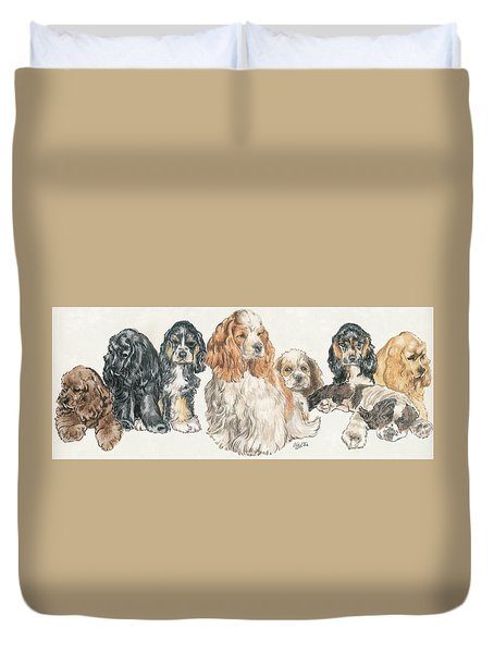American Cocker Spaniel Puppies Duvet Cover by Barbara Keith