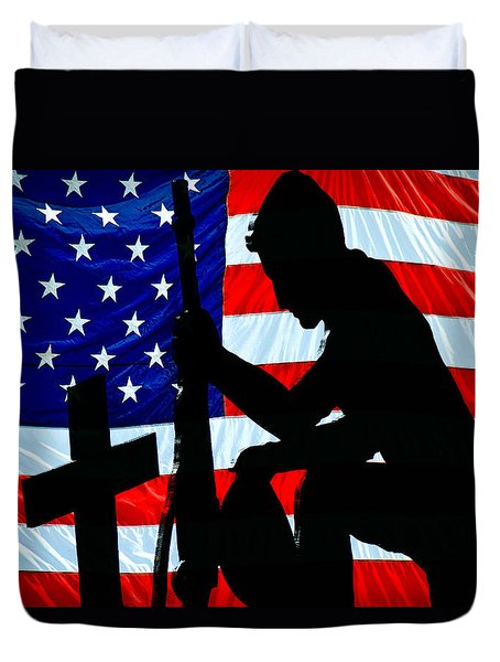 American Flag At Rest Duvet Cover by Bob Orsillo