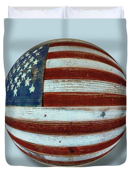 American Flag Wood Orb Duvet Cover by Tony Rubino