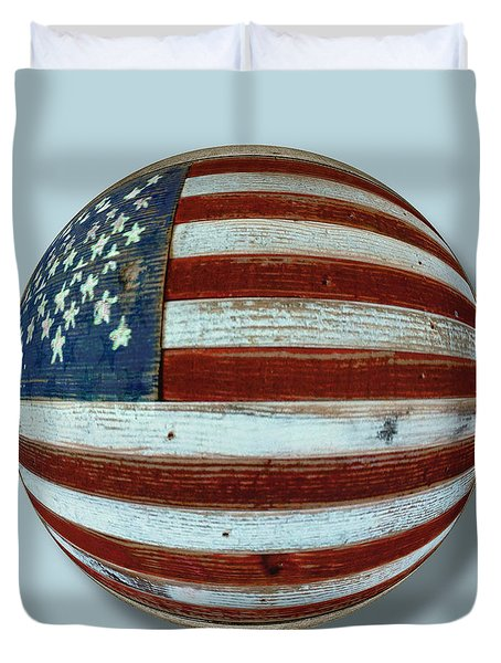 American Flag Wood Orb Duvet Cover by Tony Rubino