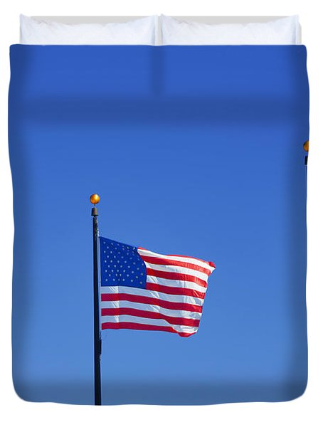 American Flags - Navy Pier Chicago Duvet Cover by Christine Till