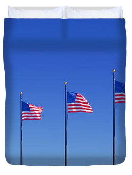 American Flags on Chicago's famous Navy Pier Duvet Cover by Christine Till