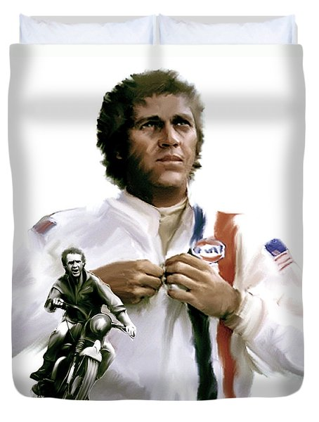 American Icon  Steve Mcqueen Duvet Cover by Iconic Images Art Gallery David Pucciarelli