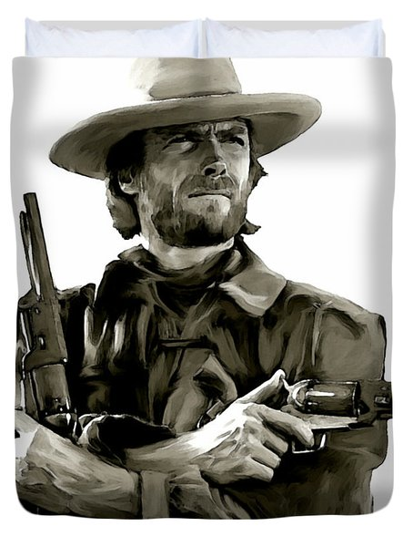 American Outlaw  Clint Eastwood Duvet Cover by Iconic Images Art Gallery David Pucciarelli