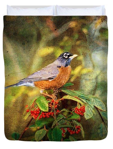 American Robin - Harbinger Of Spring Duvet Cover by Lianne Schneider