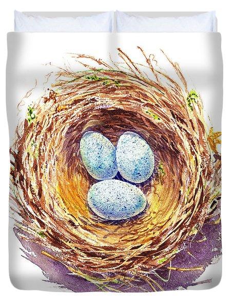 American Robin Nest Duvet Cover by Irina Sztukowski