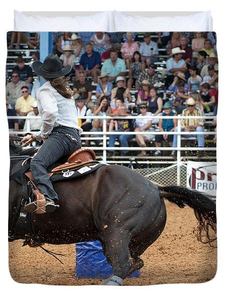 American Rodeo Female Barrel Racer Dark Horse II Duvet Cover by Sally Rockefeller