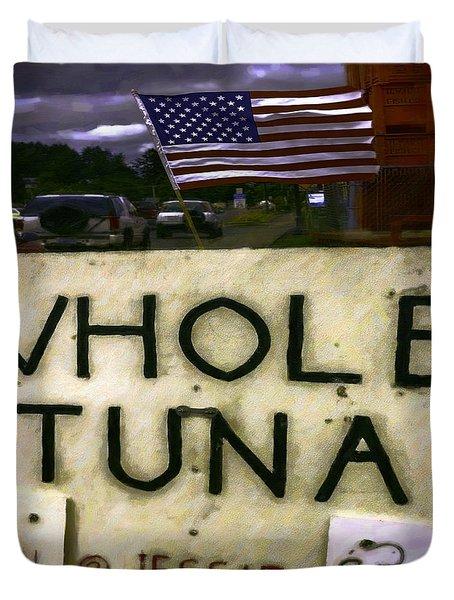 American Whole Tuna Duvet Cover by Jean OKeeffe Macro Abundance Art