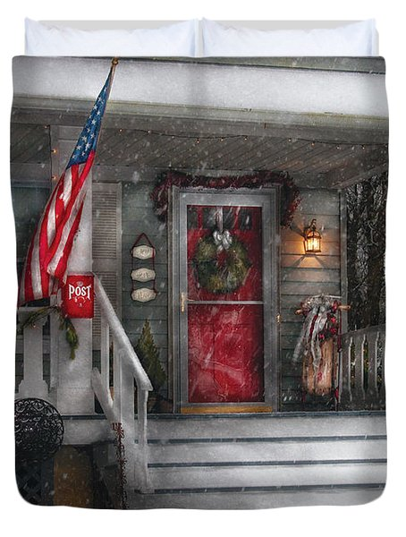 Americana - A Tribute to Rockwell - Westfield NJ Duvet Cover by Mike Savad