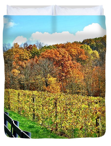 Amish Vinyard Two Duvet Cover by Frozen in Time Fine Art Photography