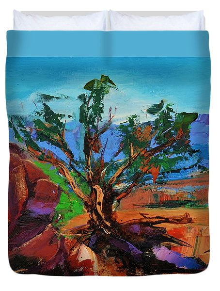 Among the Red Rocks - Arizona Duvet Cover by Elise Palmigiani