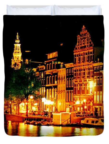Amsterdam at Night Four Duvet Cover by John Malone