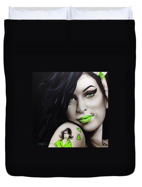 Amy Winehouse - 'amy Jade' Duvet Cover by Christian Chapman Art