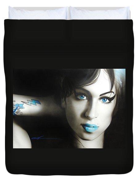 Amy Winehouse - 'amy 'n' Blues' Duvet Cover by Christian Chapman Art