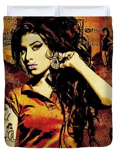 Amy Winehouse 24x36 Mm Reg Duvet Cover by Dancin Artworks