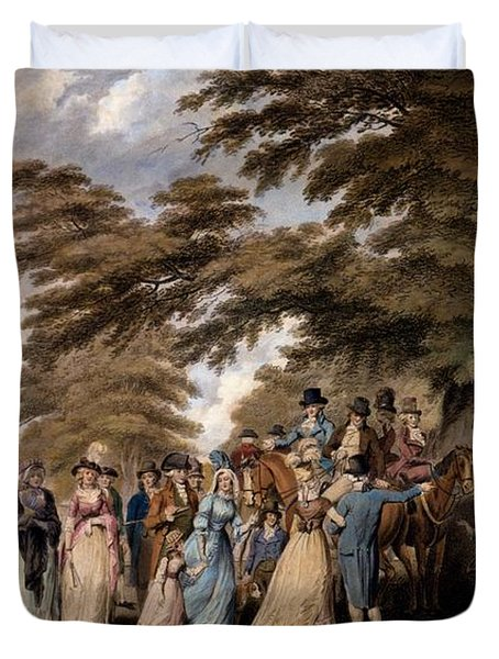 An Airing In Hyde Park, 1796 Duvet Cover by Edward Days
