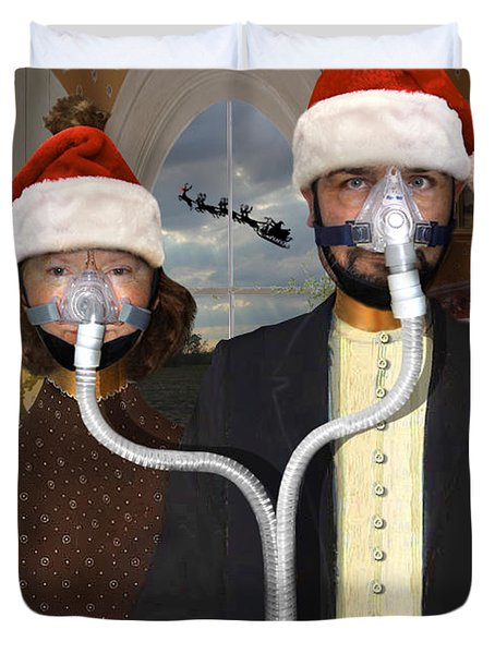 An American Gothic Sleep Apnea Merry Christmas Duvet Cover by Mike McGlothlen