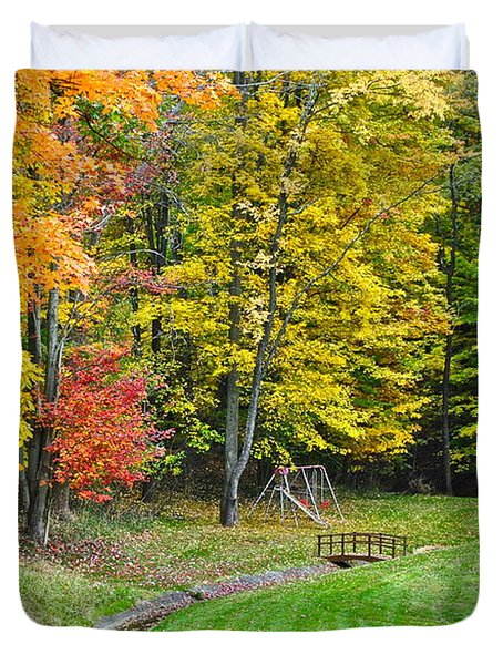 An Autumn Childhood Duvet Cover by Frozen in Time Fine Art Photography