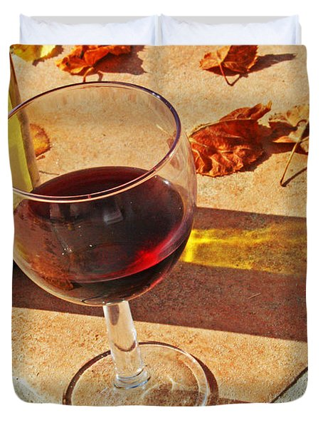 An Autumn Glass Of Red Duvet Cover by Nomad Art And  Design