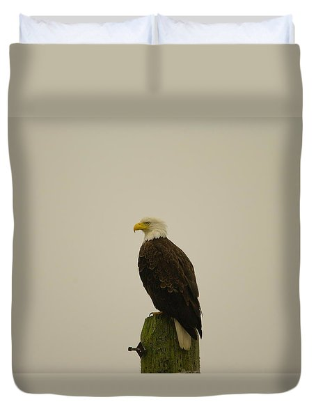 An Eagle Perched Duvet Cover by Jeff Swan