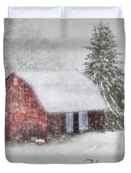 An Old Fashioned Merry Christmas Duvet Cover by Lori Deiter