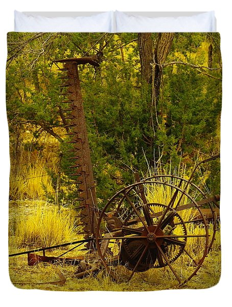 An Old Grass Cutter In Lincoln City New Mexico Duvet Cover by Jeff Swan
