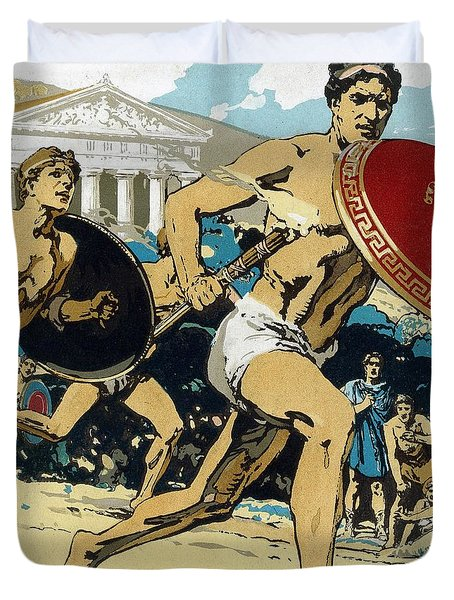 Ancient Olympic Games  The Relay Race Duvet Cover by Unknown