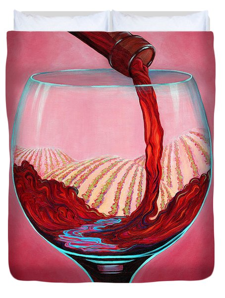 ...and Let There Be Wine Duvet Cover by Sandi Whetzel