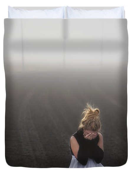 And Tears Shall Drown The Wind Duvet Cover by Evelina Kremsdorf