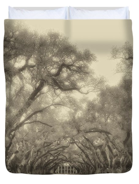 And Time Stood Still Sepia Duvet Cover by Steve Harrington
