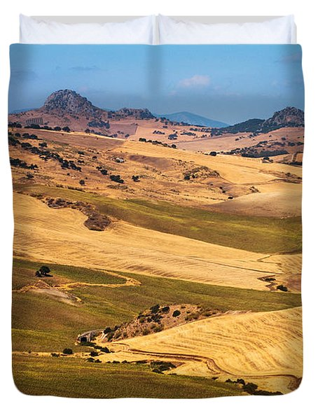 Andalusian Patchwork Fields I. Spain Duvet Cover by Jenny Rainbow