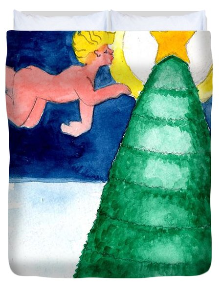 Angel And Christmas Tree Duvet Cover by Genevieve Esson