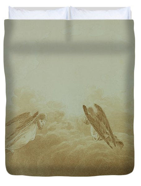 Angel In Prayer Duvet Cover by Caspar David Friedrich