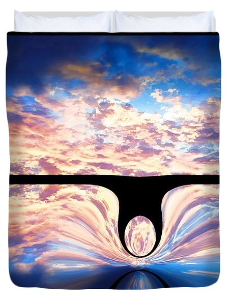 Angel In The Sky Duvet Cover by Alec Drake
