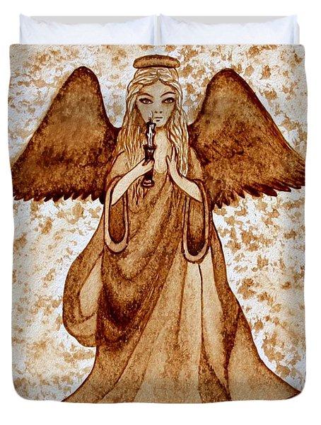 Angel Of Hope Original Coffee Painting Duvet Cover by Georgeta Blanaru