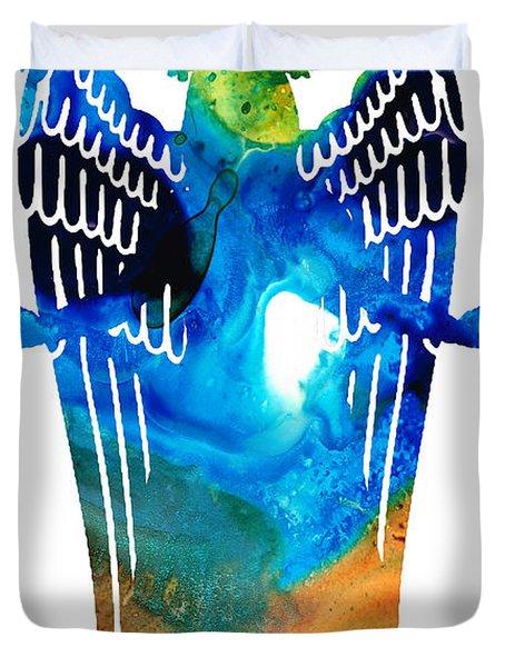 Angel Of Light - Spiritual Art Painting Duvet Cover by Sharon Cummings