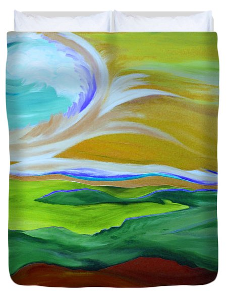 Angel Sky Green By Jrr Duvet Cover by First Star Art