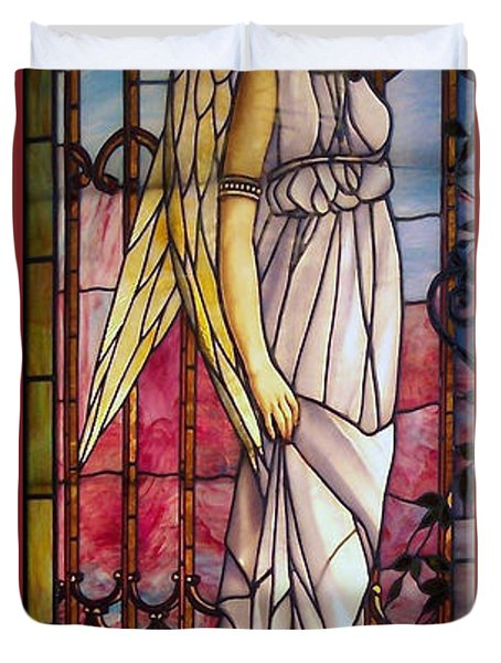 Angel Stained Glass Window Duvet Cover by Thomas Woolworth