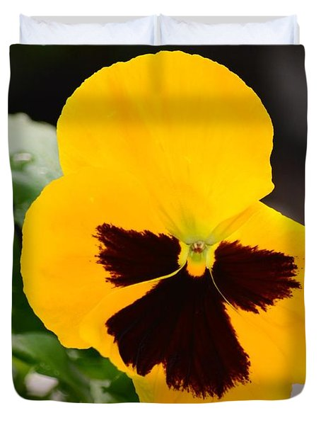 Angel Winged Pansy Duvet Cover by Maria Urso