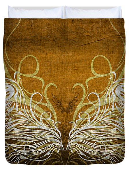 Angel Wings Gold Duvet Cover by Angelina Vick
