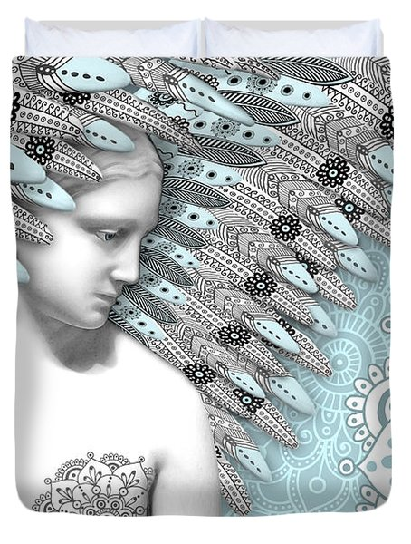 Angelica Hiberna - Angel of Winter Duvet Cover by Christopher Beikmann